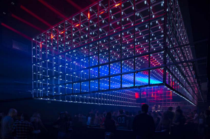 Lighting in Brazil nightclub changes as clubbers move
